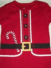 Santa Suit Red Christmas Long Sleeve Bodysuit 0-3 Months Boy Girl Baby Costume