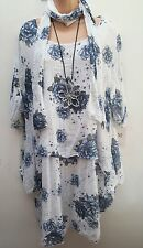 New Italian Lagenlook White Blue Floral cotton Dress Tunic Top Scarf uk 18 20 22