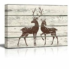 Stag and Doe in Block Print Artwork - Rustic Canvas Wall Art Home Decor - 12x18