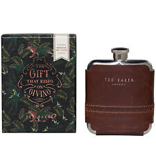 Ted Baker - Walnut Brown Brogue Hip Flask in Presentation Gift Box