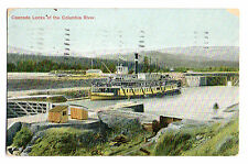 Paddle Wheel Steamer at Cascade Locks Columbia River Postcard 1908