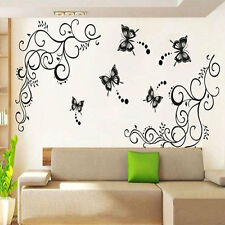 Large Black Butterfly Wisteria Flower Vine Art Wall Decal Stickers Decor JUST