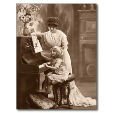 """*Postcard-""""Little Girl Learning Piano with Mom"""""""