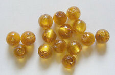 15 Round Silver Foil  Glass Beads - Amber -7mm to 8mm