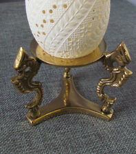 Brass Easter Egg Stand, Pysanka Holder, Dragon, for Emu, Rhea, Ball, 4""