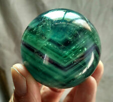 244g Natural Purple and Green Fluorite Quartz Crystal  sphere ball healing Y0330