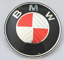 BMW 1 3 5 7 Z3 Z4 X3 X5 SERIES BONNET BADGE RED CARBON FIBRE LOGO EMBLEM 82mm