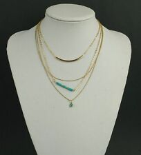 Multi-Layers Fashion Women Gold Plated Turquoise Pendant Chain Chunky Necklace