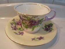 Vintage Aynsley Violets Floral TEA CUP AND SAUCER Set EC Unusual Foot and Handle