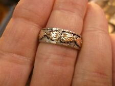 "BEAUTIFUL 12K YELLOW & ROSE GOLD & STERLING SILVER ""RGC"" BLACK HILLS BAND, VGC"