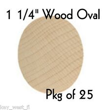 """OVAL ~ 1 1/4"""" ~ Wood Cutout Craft Shape ~ Unfinished { Lot of 25 } ~ by PLD"""