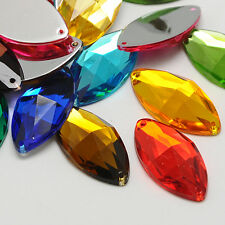 20pcs Acrylic Rhinestone Flat Back and Faceted Horse Eye Mixed Color 12x6x3mm