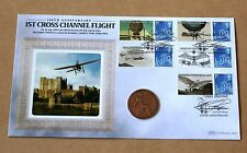 LOUIS BLERIOT IST CROSS CHANNEL FLIGHT SMILERS 2009 BENHAM FDC + 1909 PENNY COIN