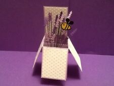 Handmade Lavender and bee card -  in a box -pop up design