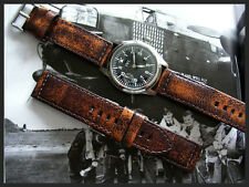 Distressed Aged Vintage Leather Mil Bomber Pilot Chrono watchband IW SUISSE 22mm