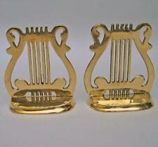 """MUSICAL INSTRUMENT HARP  MUSIC NOTE SIGN Solid Brass 5"""" Tall BOOKEND 1 Pair New"""