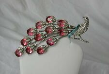 Vintage Trifari KTF Bird Peacock Brooch Pin Clear & Ruby Rhinestone Enamel HUGE!
