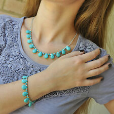 TURQUOISE Bracelet and Necklace SET, teadrop beads, silver tone chain
