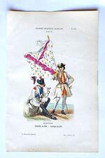 Gravure XIXe PHILIPPOTEAUX soldats uniformes Régiment BOURGOGNE 18e PL85