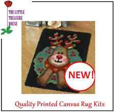 Reindeer & Holly bush Christmas Printed Canvas Latch Hook Rug Kit