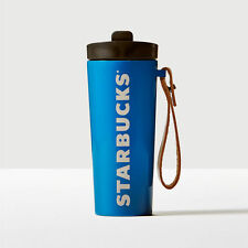 Starbucks Stainless Steel Vacuum Insulated Tumbler with Leather Handle-Blue,16-o