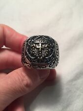 Vintage Large Stainless Steel Cross Crest Size 13 Men's Ring