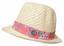 NEW + TAGS BILLABONG 'BOUQUET' LADIES NATURAL / PINK STRAW FEDORA HAT SIZE M-L
