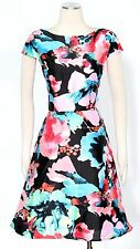 Tahari Black Coral Sky Blue Dress Size 10 Floral A Line Skirt Women's New*