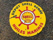 Plaque emaillee Ancienne Shell Garage Station Service DEPOT HUILES MARINES BERRE
