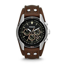 FOSSIL CH2891 Coachman Chronograph Dark Brown Leather Strap 44mm Men's Watch