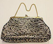 Vintage Chic 50 - 60 Black & Gold Hilo Evening Bag Cadena Mango Smart Chic