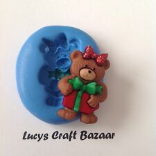 Silicone Mould Christmas Teddy Bear Present Flowerpaste Polymer Clay Chocolate