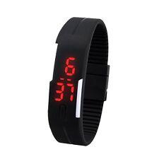 LED Uhren der Süßigkeit-Farben-Silikon-Gummi-Screen-Uhr Schwarz GY