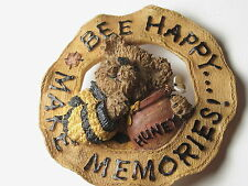 "Vintage Boyd's Bears ""Bee Happy Make Memories!"" Brooch, Round with Honey too"