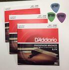 3 Sets D'Addario EJ74 Mandolin Strings + FREE PICKS Phos Bronze Medium 11-40 J74