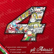 Adesivo Stickers NUMERO 4 moto auto cross gara STICKER BOMB 5 cm