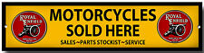 ROYAL ENFIELD MOTORCYCLES SOLD HERE ENAMELLED METAL SIGN,GARAGE SIGN.