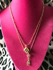 Betsey Johnson Vintage Tea Party Slice Of Cake Fork Dessert Sweet Necklace RARE