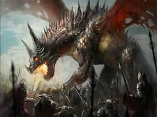 ART PRINT POSTER PAINTING DRAWING FANTASY MONSTER DRAGON BATTLE COOL LFMP1047