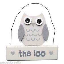 The Loo Wooden Owl Plaque - Door sign - White & Grey - Bathroom -Toilet - NEW