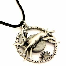 Greenwood Celestial Hare Amulet Pendant Necklace Pewter Moon Rabbit GW03