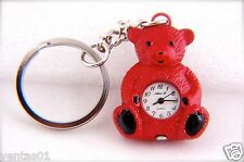 CUTE BEAR KEYCHAIN RED TONE KEY RING QUARTZ WATCH BY ALEX, L