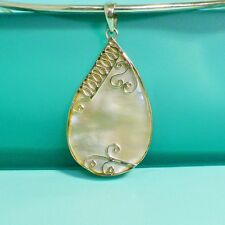 "2"" Teardrop Mother of Pearl Shell 925 Bali Sterling Silver Handmade Pendant"