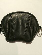 2x NEW Coins Bag Wallet Pouch Black Zipper Leather Man/Woman with Key Ring