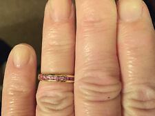 QVC 9ct Yellow Gold Eternity Band Ring with Pink Sapphires K, not scrap