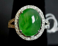 GIA CERTIFIED A Grade Oval Jadeite Jade Cabochon Ring Vintage Antique Natural