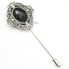 Men Antique Silver Black Gemstone Cut Out Lapel Stick Pin Tie Hat Scarf Brooch