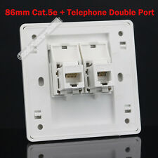 Wall Socket Plate One RJ45 CAT5 5E LAN + One RJ11 Telephone Panel Faceplate