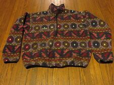 Men's VTG 90s Columbia Red Brown Black Green Tan Aztec Pullover Fleece sz M