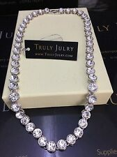 Luxurious Designer Inspired Sparkling Diamanté Silver Necklace - Gift Packaged